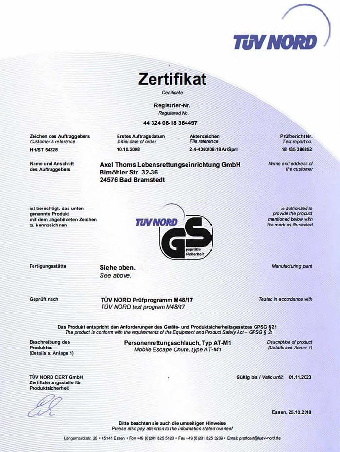 TÜV Zertifikat Gs