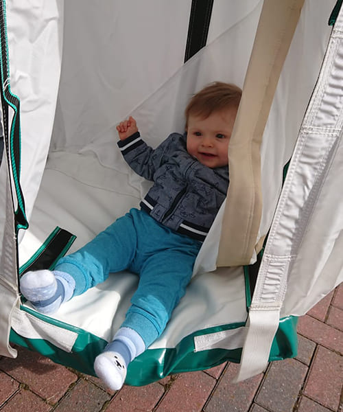 Baby slips through the escape chute