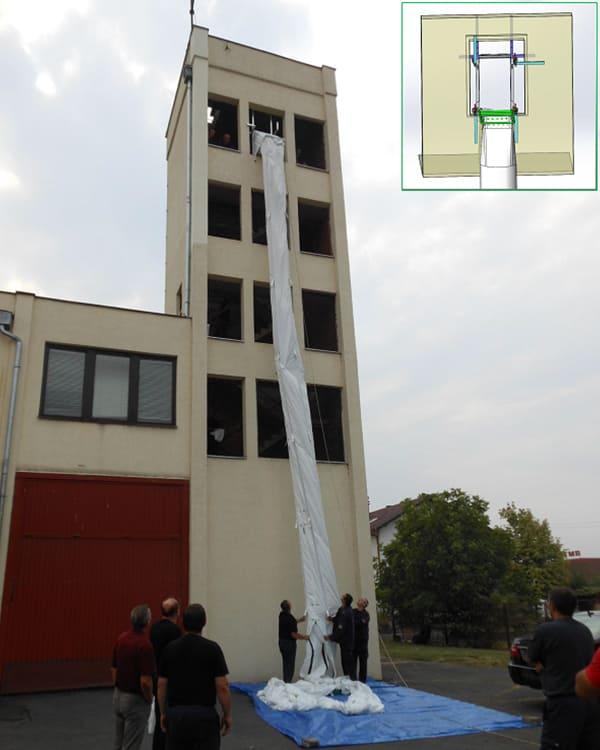 Mobiler Rettungsschlauch zur Evakuierung